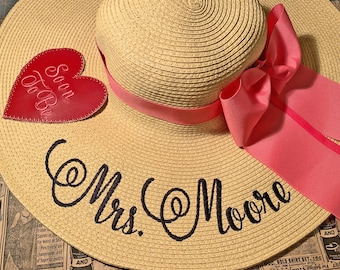 Personalized Floppy Hat Mrs Hat Name Hat Honeymoon Bridal Soon to Be The Future Mrs Hat Floppy  Wedding Bridesmaids, Beach, Derby, Cup Race