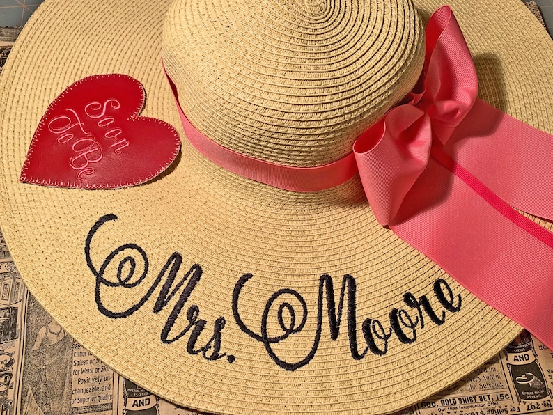 Personalized Floppy Hat Mrs Hat Name Hat Honeymoon Bridal Soon image 0