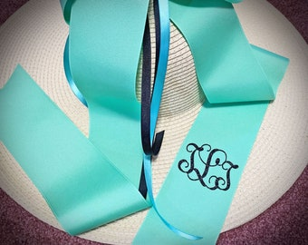 Personalized Derby Monogrammed Floppy Hat, Cup Race, Colonial Downs, Derby Hat, Beach, Sun  Monogram on hat or glitter ribbon