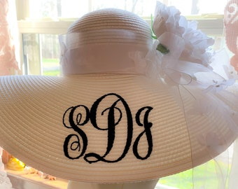 Monogrammed Personalized Bridal Bride Wedding  White Floppy Hats. Mother of Bride, Maid of Honor, Groom's Mother, Bridesmaids
