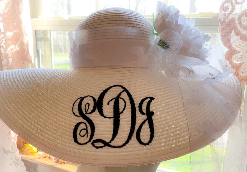 Monogrammed Personalized Bridal Bride Wedding  White Floppy image 0