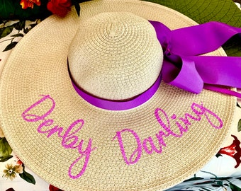 Personalized Derby Floppy Glitter Hat, shower Hat, Cup Race, Carolina Cup Hat, Mrs Hat, Straw Hat,