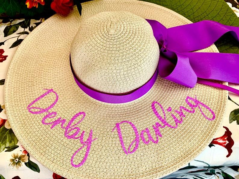 Personalized Derby Floppy Glitter Hat shower Hat Cup Race Phrase Hat