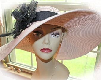 Personalized Floppy Hat Mrs. Hat PINK Monogrammed Hat Blush Pink Ballet Pink Includes Mrs. or Monogram Honeymoon Vacation Beach Bride Hat