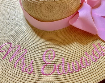 Mrs Hat Personalized Floppy Hat Name Hat Honeymoon Bridal Soon to Be The Future Hat Floppy Straw Wedding Bridesmaids, Beach, Derby, Cup Race