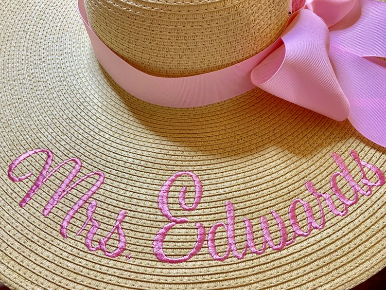 Mrs Hat Personalized Floppy Hat Name Hat Honeymoon Bridal Soon image 0