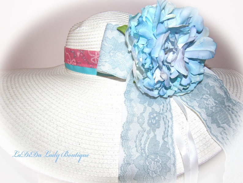 Monogrammed Shabby Chic Floppy Hat Bride Wedding Easter Derby image 0