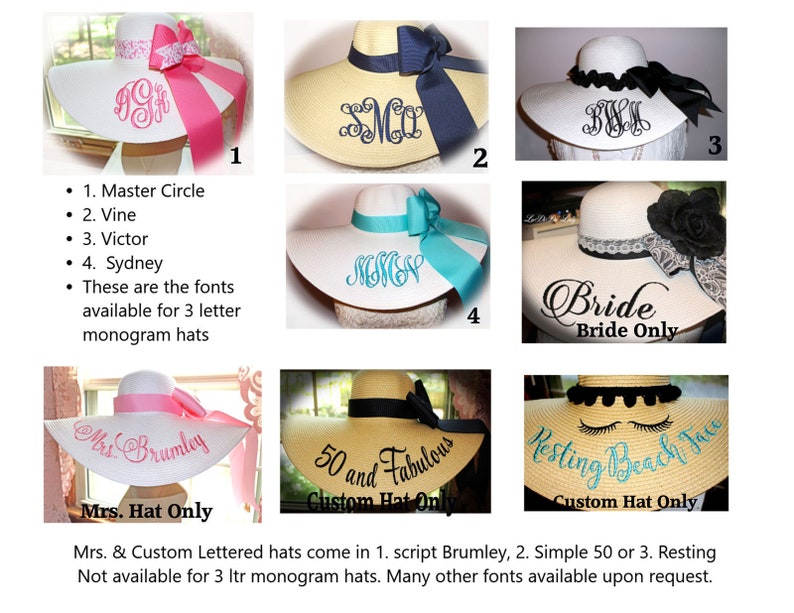 Monograms & Personalization Samples for your Floppy Hats  image 0
