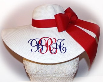 Patriotic Floppy Hat Red,  WHITE & Blue, Derby, 4th of July, Memorial Day, Military Hat, Flag,  Monogrammed and Custom Large and Lovely