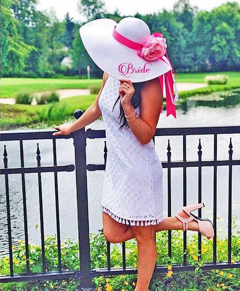 Personalized Bridal Wedding Floppy Hat Bridal Shower Hat image 0
