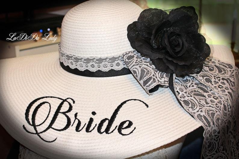 Monogrammed Floppy Hat Black & White Lace Bridal Bride shabby image 0