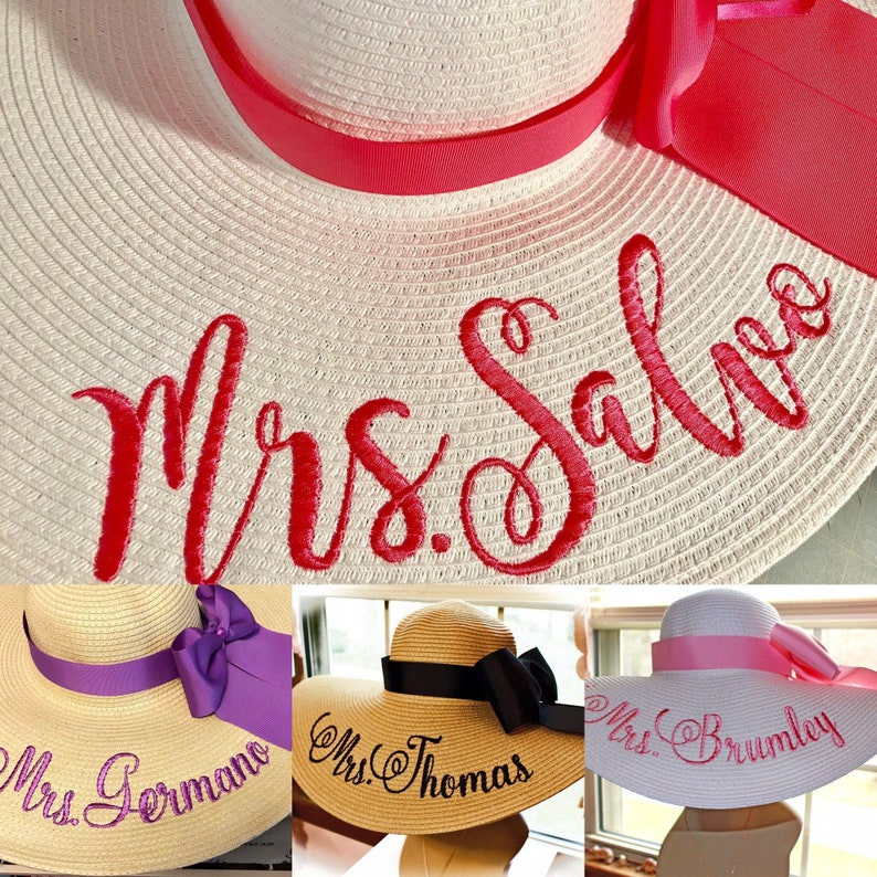 Personalized Floppy Hat Mrs Hat Name Hat Honeymoon Bridal Hat image 0