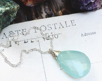 L i g h t...Aqua chalcedony necklace, labradorite, boho, Sacral Chakra, energy, peace, healing, sterling silver necklace FREE SHIPPING