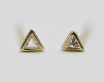 14k Gold Triangle Diamond Earrings Triangle Diamond Studs Trillion Shaped Diamond