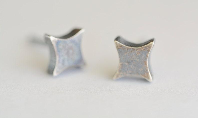 410d49763 Small Oxidized Silver Star Stud Earrings Tiny Diamond Post | Etsy