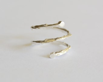 Silver Spiral Twig Ring Wrap Twig Band