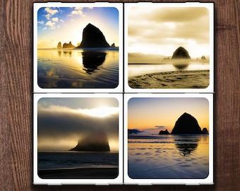 Haystack Rock: Set of Four Ceramic Coasters
