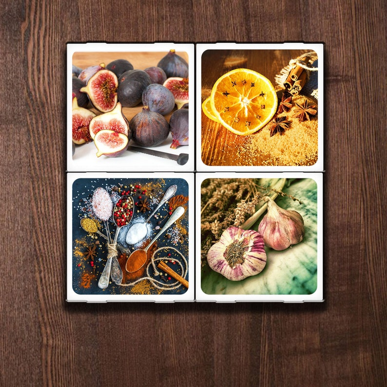 Set of 4 Ceramic Coasters Foodie Fun