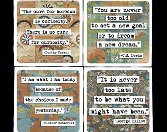 ChicalooKate Literary Quotes Ceramic Coaster Set