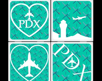 Portland Airport Carpet - Ceramic Coaster Set