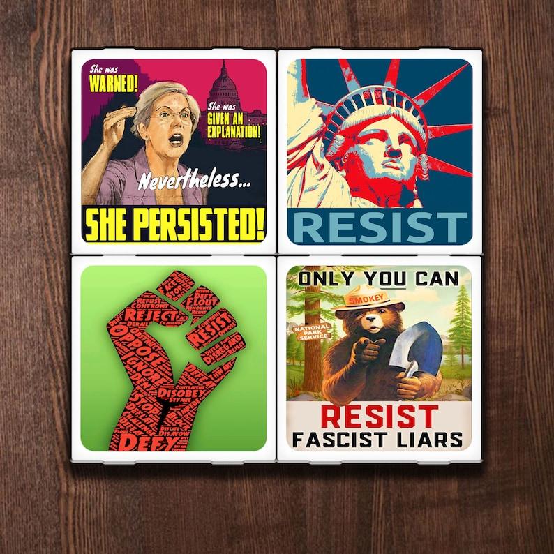 Vive La Resistance Set of Four Ceramic Coasters image 0