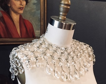 Egyptian Style Chandelier Crystal Shoulder Harness Armor Top by Louise Black