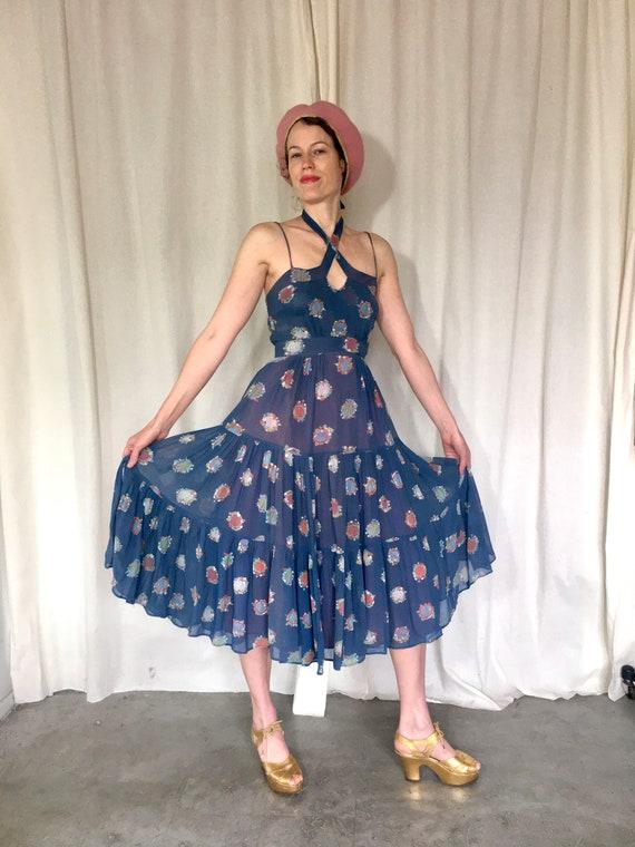 70s Ossie Clark Blue Celia Birtwell Print Dress