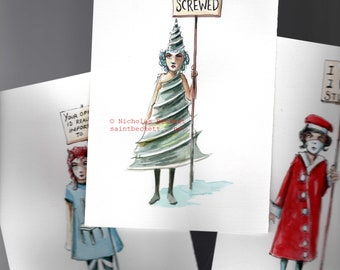We're screwed - Hand coloured print from the Songs of Protest