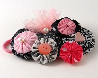Baby Yoyo Flower Headband Bubble Statement Hair Accessory - One Size fits All - Baby Shower Gift- Choker - WristWrap