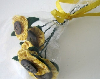 Mini Forever Sunflowers Flower Bouquet for Room Decor, Fragrance Free, Table Favors