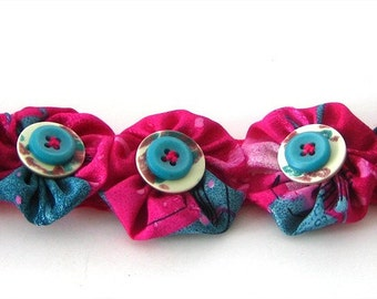 Fabric Bubbles and Buttons Bracelet Cuff Wrist or Ankle Snaps On Spring Colors