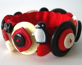 Button Bracelet Red Black White Penguin OOAK