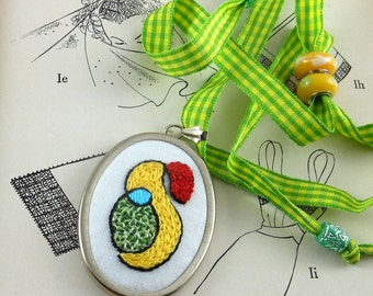 Pendant Hand Embroidered Art Lover Abstract Scribble Bird with Flower with Adjustable Ribbon