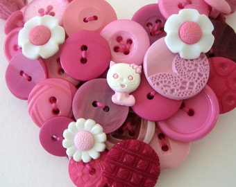 Statement Necklace Pink Kitty Heart Button Snap On