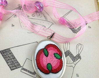 Pendant Hand Embroidered Pink Abstract Rose with Adjustable Ribbon Art Lover Gift, Mother's Day, Bridesmaid