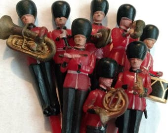 Vintage Marching Band Cake Picks Toppers 8 pc Set, red and black