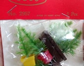 Package of 5pc Tiny Potted Evergreen Trees Vintage Plastic Dollhouse Diorama Scenery Miniatures NEW OLD STOCK, made in Hong Kong Christmas