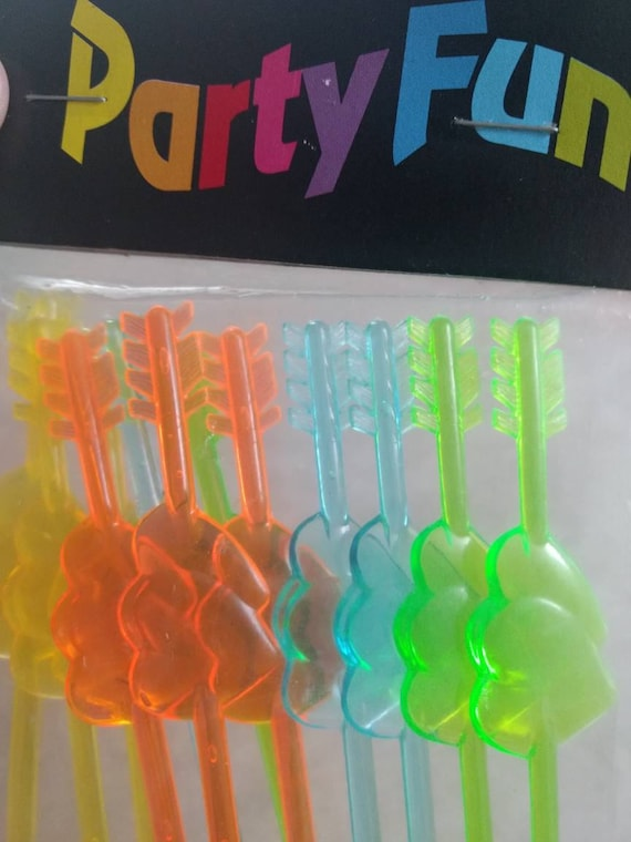 Vintage 1980s NEON Double Heart Vintage Plastic Picks - new old stock/unopened package of 12 - PARTY FUN!