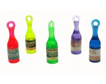 8 x Assorted NEON Plastic Bottle Pendant Charm Mix