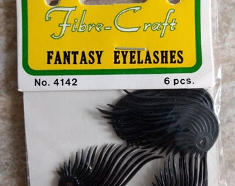 6pc Package of Pair of Black Plastic Wings or Eyelashes Vintage Embellishment, new old stock