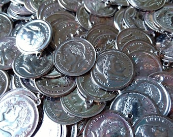 30 x VINTAGE Silvertone Napolean Empereur Coin Pendant Charm Stampings, new old stock