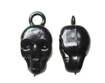 10 x Black Skull Plastic Vending Gumball Machine Charms Vintage, New Old Stock