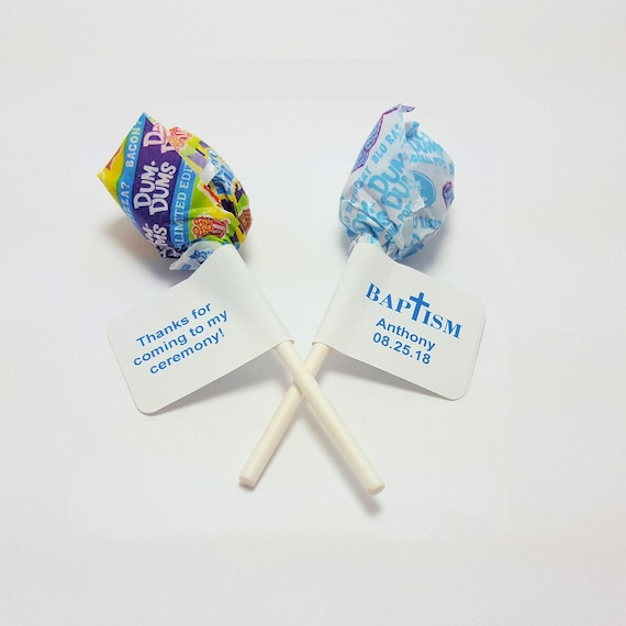 60 Personalized Christening Nugget Candy Wrappers Favor Labels Stickers Blue