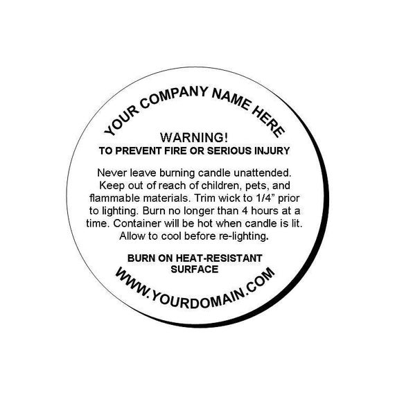 24 personalized candle warning round glossy labels. Black Bedroom Furniture Sets. Home Design Ideas