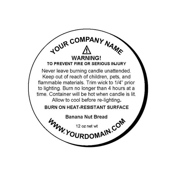 96 x Candle Warning Labels Burning Safety Stickers 45mm