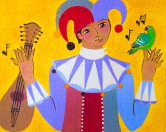 Jester With Mandolin & Parrot