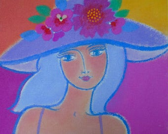 """An Original Painting on Canvas - """"Summer Muse"""" - Acrylic - 8"""" x 8"""""""