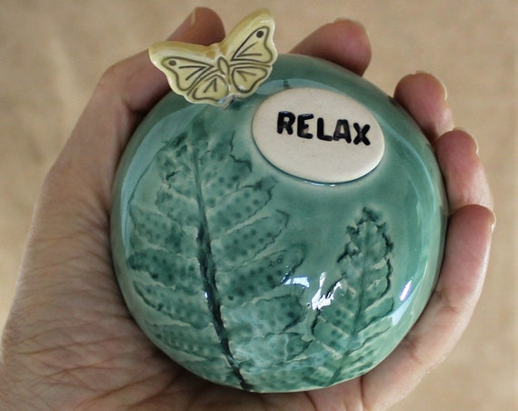 Shaman Rattle - Meditation Rattle - Spirit Rattle - Inspirational - Butterfly - Fern - Meditation Altar - Clay Rattle - FREE SHIPPING