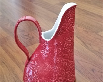 Red Floral Pitcher - Jug - Handcrafted Stoneware - Beverage Pitcher - Iced Tea Pitcher - Flower Vase - Water Jug - 20 ounces