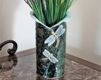 Dragonfly Vase - Wine Bottle Holder - Dragonfly Utensil Holder - Dragonfly Home Decor - FREE SHIPPING